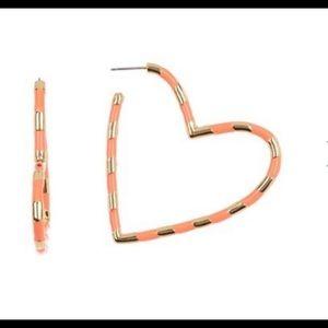 BAUBLEBAR Annaelle Heart Hoop Earrings - Coral.
